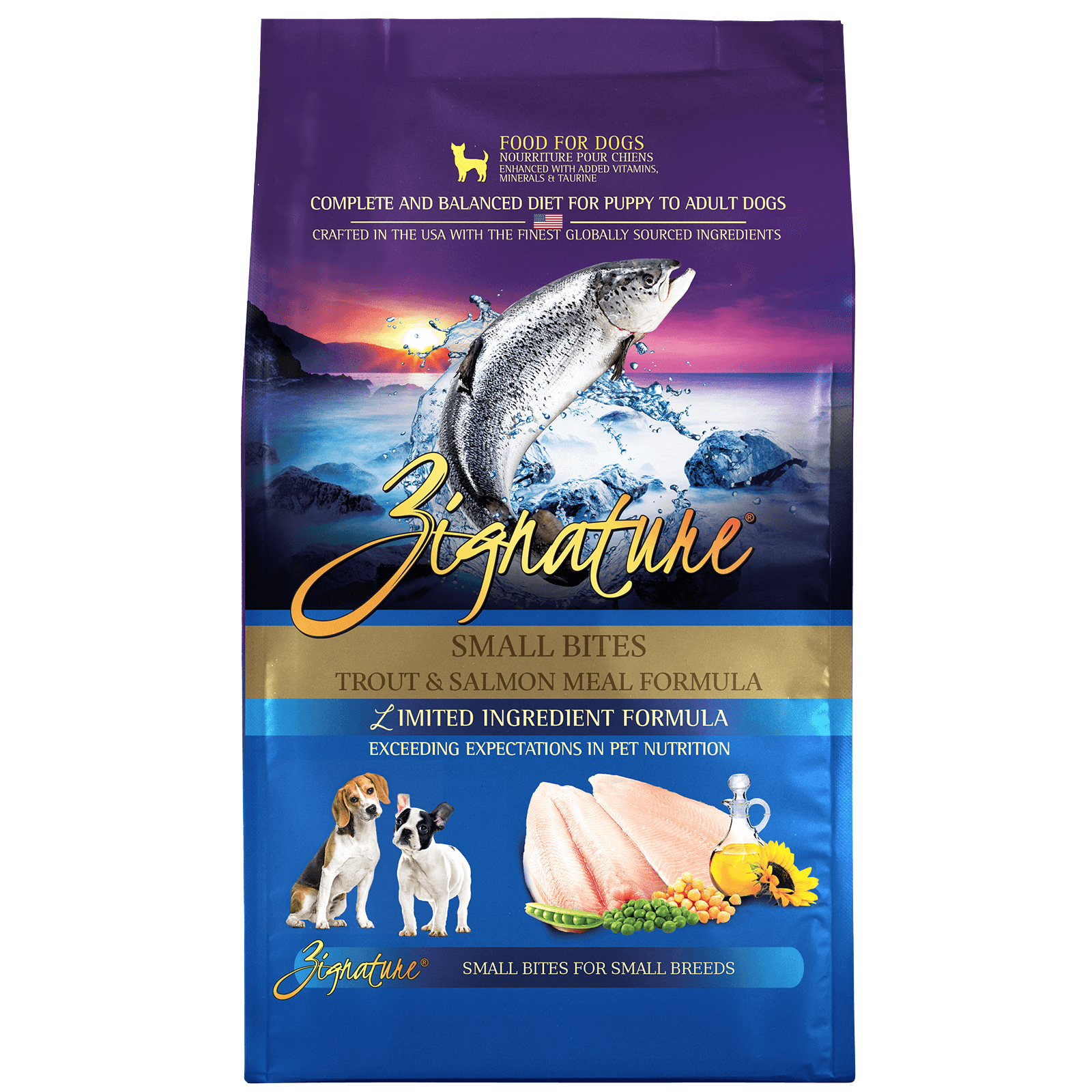 Zignature Trout & Salmon Meal Formula Small Bites Dry Dog Food